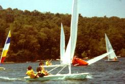 Bracken Gardner crewing for me at Ithaca Yacht Club, circa 1982.